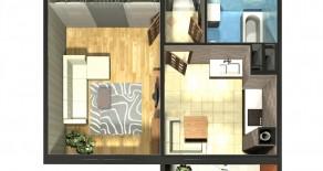 Однокомнатная квартира тип 1П-2  —  37,08 м2